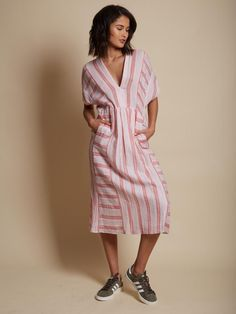 MASSCOB striped cotton dress. Decollete, short sleeves. Two side pockets.