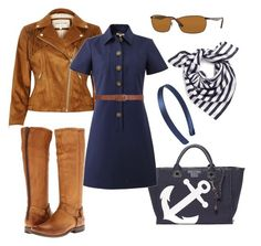 A fashion look from April 2016 featuring blue a line dress, fitted jacket and tan leather boots. Browse and shop related looks. Tan Leather Boots, River Island, Tommy Hilfiger, Ray Bans, Kate Spade, Jar, Fashion Looks, Michael Kors, Polyvore