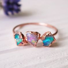 Triple opal rings