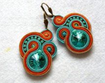 Soutache Earrings Colorful Swarovski Elegant Ethno Boho Glamour Ohrringe Soutache Boucles d'oreilles soutache Orecchini Soutache