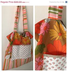 25% OFF WEEKEND SALE- Flower Power Tote Bag-Slouchy Bag-Retro Linens