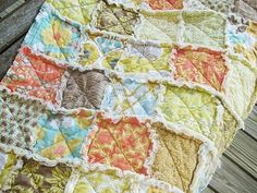 Baby Rag Quilt, Modern Meadow in sunglow,