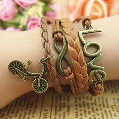 Romantic love password bracelets bicycle accessories leather bracelets | Tophandmade - Jewelry on ArtFire