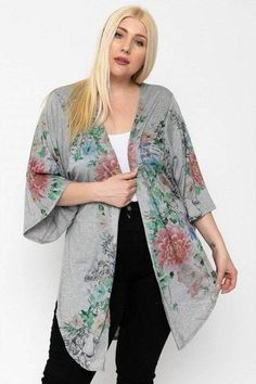 Made In U.S.A 1XL.2XL.3XL Floral print, long body cardigan featuring side slits, and kimono style sleeves. 33% Rayon 63% Polyester 3% Spandex Grey/Floral POL Floral Print, Long Body Cardigan Cardigan Long, Floral Cardigan, Floral Kimono, Cardigan Fashion, Kimono Fashion, Fashion Outfits, Kimono Cardigan Outfit, Modest Fashion, Style Kimono