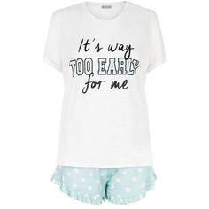 New Look Turquoise It's Way Too Early Print Pyjama Set (350 MXN) ❤ liked on Polyvore featuring intimates, sleepwear, pajamas, polka dot sleepwear, polka dot pjs, polka dot pajama set and polka dot pajamas