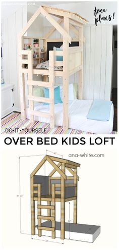 A DIY tutorial to build an indoor playhouse kids loft over a twin bed. Make your kids dreams come true with free plans from Ana White for this awesome loft. kids furniture DIY Over Bed Kids Loft - Jaime Costiglio