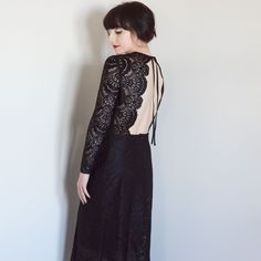 Open Back Black Lace Dress