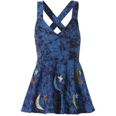 Moons & Stars Applique Top - New Age & Spiritual Gifts at Pyramid... ($18) ❤ liked on Polyvore featuring dresses, tops and shirts