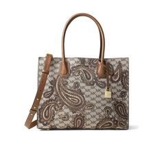 824554b824a8 Michael Kors Women s Mercer Paisley Luggage Brown Leather Tote 14% off  retail