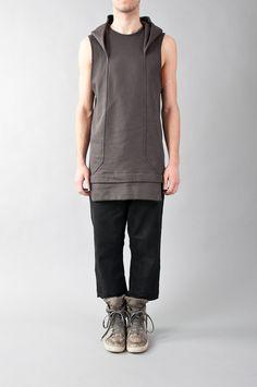 paneled sleeveless hoodie