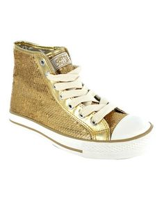 Take a look at this Gold Sequin Disco Hi-Top Sneaker - Women by Gotta Flurt on #zulily today!