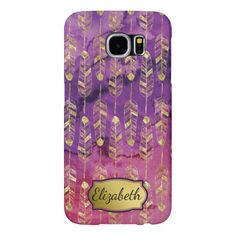 Purple & Pink Watercolor Gold Feather Personalized Samsung Galaxy S6 Cases. Customize.  #samsungcases