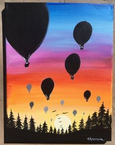 Sunset Painting - Learn To Paint An Easy Sunset With Acrylics Sunset Painting -. - uncategorized - Sunset Painting – Learn To Paint An Easy Sunset With Acrylics Sunset Painting – Learn To Paint - Acrylic Painting Trees, Canvas Painting Tutorials, Balloon Painting, Easy Canvas Painting, Simple Acrylic Paintings, Acrylic Canvas, Easy Paintings, Canvas Art, Sunset Paintings