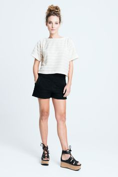 sara bailes x shaggy float top x quilted shorts