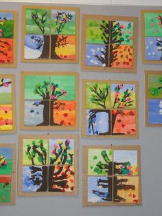 de 4 seizoenen. Hier zijn het allemaal bomen maar het kunnen ook 4 fragmenten zijn van een ander onderwerp. Laat ze een tekening maken van iets wat ze buiten kunnen doen of zien; die tekening in 4 verdelen en elk stukje in de kleuren van dat seizoen schilderen/kleuren. Dan kun je het ook hebben over kleurenfamilies, warme kleuren en koude kleuren!