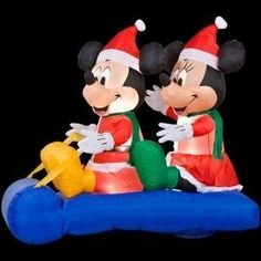 CHRISTMAS DECORATION LAWN YARD INFLATABLE MICKEY MOUSE AND MINNIE ON A SLED 5' TALL