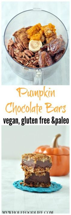 Bake Pumpkin Chocolate Bars are perfect for fall. Vegan, gluten free and paleo with ZERO refined sugar!No Bake Pumpkin Chocolate Bars are perfect for fall. Vegan, gluten free and paleo with ZERO refined sugar! Vegan Pumpkin, Baked Pumpkin, Pumpkin Recipes, Fall Recipes, Whole Food Recipes, Vegan Recipes, Whole Food Desserts, Pumpkin Foods, Pumpkin Butter