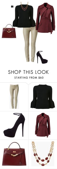 """Untitled #8355"" by erinlindsay83 ❤ liked on Polyvore featuring Hudson, Carolina Herrera, Giuseppe Zanotti, Proenza Schouler, Hermès, Talbots and Kendra Scott"