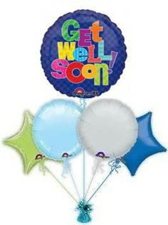 Get Well balloon delivery is the perfect way to cheer some one up when they are not feeling well. Helium filled Get Well balloons delivered by the balloon experts by free balloon post.