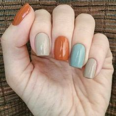 Pretty Nail Colors, Fall Nail Colors, Nail Polish Colors, Grey Colors, One Color Nails, Different Color Nails, Pastel Colors, Gel Polish, Blue Nails