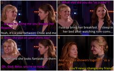 """Doing things """"as a joke"""". You know, that kind of things all of us do with our friends, right? Beca never gets it xD  Bechloe. Pitch Perfect"""