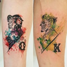(notitle) for couples Joker And Harley Tattoo, Joker Et Harley Quinn, Harley Tattoos, Dope Tattoos, Badass Tattoos, Mini Tattoos, Unique Tattoos, Nerd Tattoos, Batman Tattoo