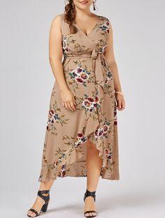 bbc76eb6a3e72 Plus Size Tiny Floral Overlap Flounced Flowy Beach Dress - APRICOT 5XL  Flowy Beach Dress