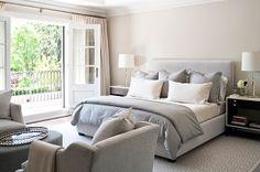 Jennifer Worts Design - bedrooms - sand beige, walls, paint, color, polished chrome, modern, lamps, gray, blue, velvet, headboard, bed, bedding, white, espresso, modern, nightstands, velvet, blue, gray, chairs, oval, ottoman, French doors, ivory, silk, dr