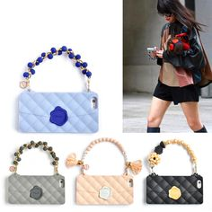 Luxury Fashion Soft Silicone Women Handbag Phone Case Cover Pearl Grapes Cluster Design Chain For Iphone 7 6 6S Plus 5 5S SE