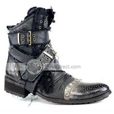 Abcaaa Retro Stylish Buckle Straps Leather Stitching Mens Boots - DinoDirect.com