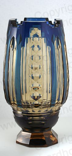 VINTAGE c.1930s VAL ST. LAMBERT BLUE OVER TOPAZ CRYSTAL VASE, JOSEPH SIMON. This item is sold, to visit my website to see what's in stock click here: http://www.richardhoppe.co.uk or for help or information email us here: info@richardhoppe.co.uk
