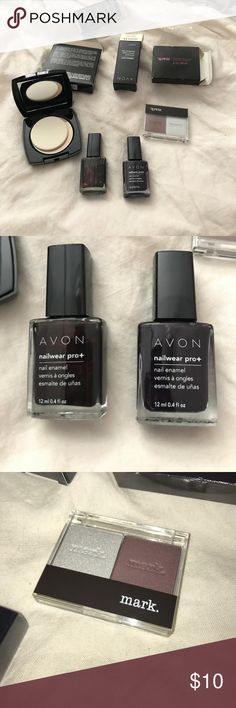 Avon makeup lot BNIB never used Avon makeup. Translucent powder, mark eyeshadow duo and two pro wear nail polishes in midnight plum and wicked malice Avon Makeup Face Powder