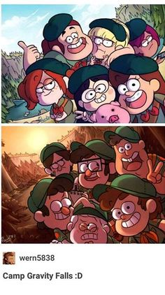 This is so cute camp gravity falls Gravity Falls Comics, Gravity Falls Au, Monster Falls, Desenhos Gravity Falls, Gavity Falls, Digimon, Dipper And Mabel, Movies And Series, Samurai Jack