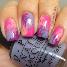 Pink and Purple Marble Nails