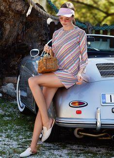 Beach wear mini dress, with bateau neck and three quarter (¾) sleeves. An elegant approach for beach wear outfits. Luxury Swimwear, Striped Dress, Beachwear, Perfect Fit, Stripes, Elegant, Mini, Sleeves, How To Wear
