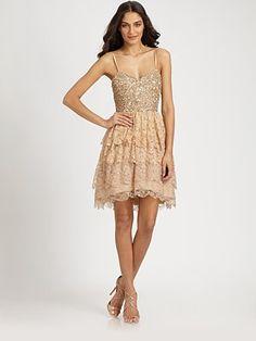 Perfect for a night of salsa dancing under the stars #SaksLLTrip  Aidan Mattox - Sequined Lace Dress - Saks.com