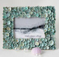 Shell Frame Beach Decor Aqua Limpet  - Nautical Decor Seashell Frame of Aqua Limpets, 5x7