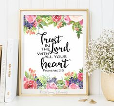 Instant Proverbs 3 5 Trust In The Lord Print Scripture Art Nursery Decor Verse Home Wall 2