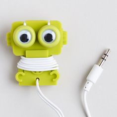 Cool Present Idea for Kids! WorldMarket.com: Robot Earbuds and Cord Wrapper