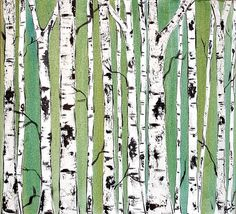 """KRISTEN DOUGHERTY    """"Birch Trees on Emerald Commission""""    #texture #repetition"""