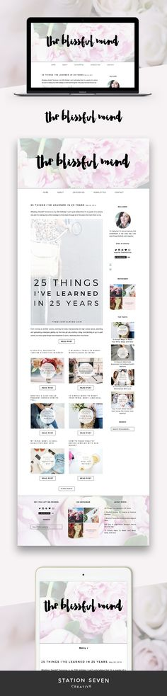 Chic and girly site by The Blissful Mind running on Station Seven's Coastal WordPress theme.