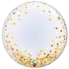 7.99 € , Un joli ballon bulle pour toutes vos fêtes ! Bubble Balloons, Confetti Balloons, Gold Confetti, Foil Balloons, Bubbles, Beach Ball, The Balloon, Balloon Decorations, Dots