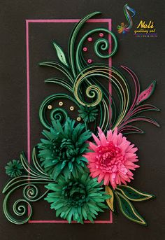 Quilling - black background, bright, off-center rectangle for border, quilling overflowing past border