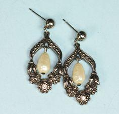 Faux Pearl Dangle Earrings Marcasites Rhinestones Silver Tone Posts Vintage (26.00 USD) by PastSplendors
