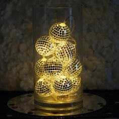 theme parties Get the party started anywhere and anytime with these funky fun disco ball string LED lights. These shiny mirror ball string lights will turn any room into a party r Disco Theme Parties, Disco Party Decorations, Disco Birthday Party, New Years Eve Party Ideas Decorations, 1970s Party Theme, Kids Disco Party, 60s Party Themes, Harlem Nights Theme Party, Themed Parties