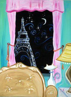 Original painting 18 x 24 paris night cat by StudioSassyCassie, $125.00