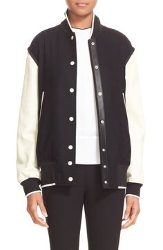 rag & bone 'Edith' Leather Trim Wool Blend Varsity Jacket available at #Nordstrom