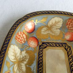 Antique Porcelain Dish  Worcester Polychrome Cobalt by NAMIvintage