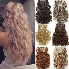 UK Full Head Real Thick Clip In Hair Extensions Long Curly Straight 8 Piece Beauty Hair Extensions, Hair Extensions For Short Hair, Beach Hairstyles For Long Hair, Natural Hair Styles, Long Hair Styles, Wig Making, Long Curly, Hair And Nails, Hair Beauty