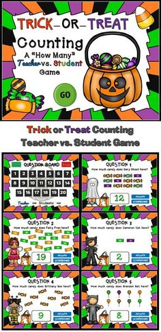 Have some Halloween fun with this awesome Halloween counting game. Students count the amount of candy each character has. This is a teacher vs student game (see description below) so your student will love competing against you. Put candy on the line and watch them work!